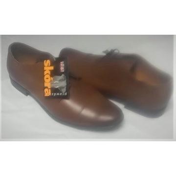 Buty skórzane męskie wizytowe brązowe Remoda 710