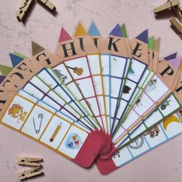 Klamerkowe zabawy - ALFABET, Przedszkole, kredki