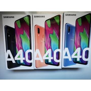 Nowy Samsung Galaxy A40 ds czarny niebieski koral