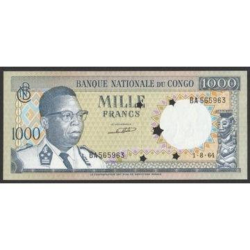 Kongo (Congo) 1000 franków 1964 - stan UNC