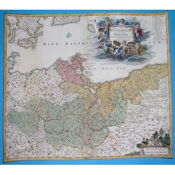 1720 MAPA POMORZE SZCZECIN GORZÓW KOŁOBRZEG SŁUPSK