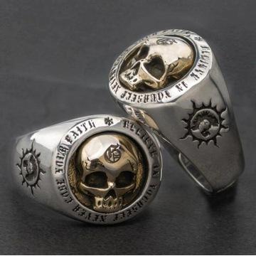 Gotycki pierścień czaszka  biżuteria r.8