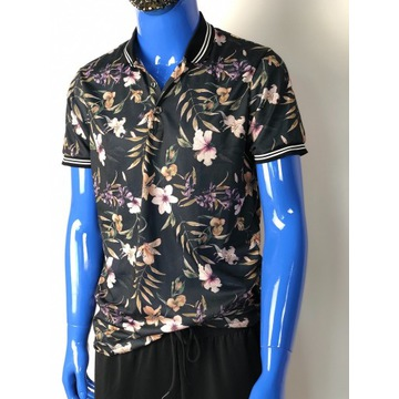 Czarna w kwiaty koszulka polo Burton Menswear rozm