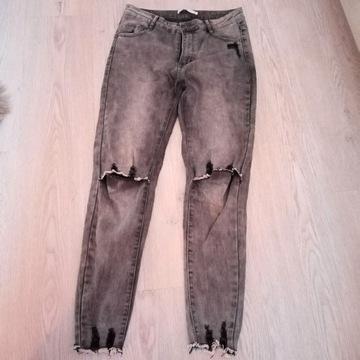 Szare jeansy rurki