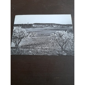 Pocztowka czarno-biala. Pszczew. Rok 1968
