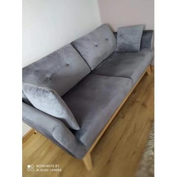 Sofa/kanapa welurowa ciemnoszara jak nowa