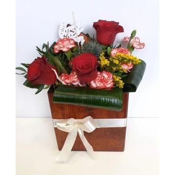 KWIATOWY Flower BOX w drewnianym pudełku KRAKÓW