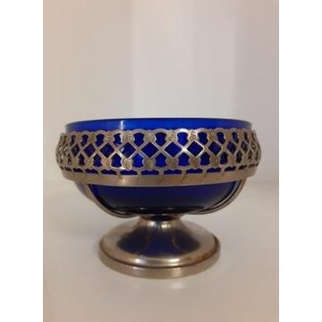 Cukiernica z metalem szklana kobaltowa stara prl