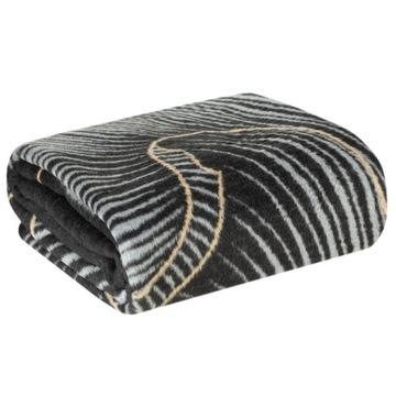 Koc bawełniany PEONIA 1 czarny beżowy 150x200