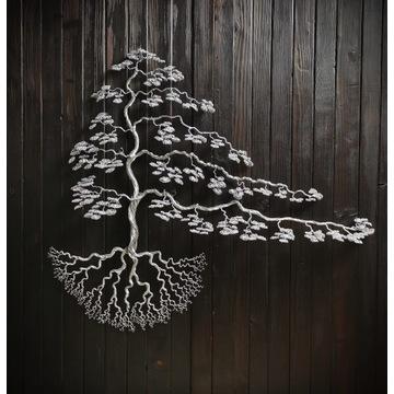 Duża rzezba z metalu, bonsai na ścianę