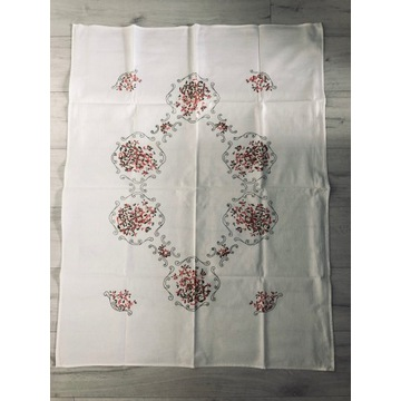 Obrus w kwiaty PRL len 85x110 cm Vintage