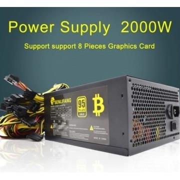 Zasilacz 90Plus Gold 2000W dla koparek BTC 8 GPU
