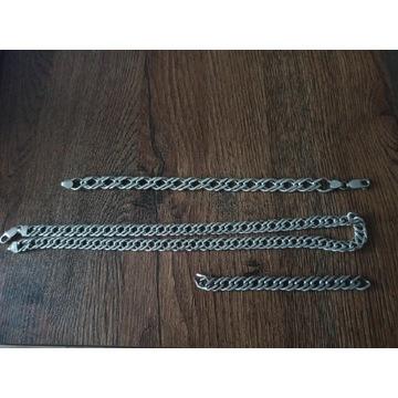 Łańcuszek i bransoleta rombo srebro 925