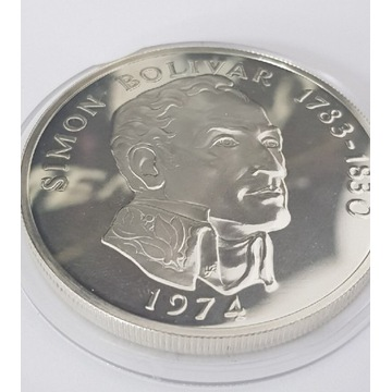 Moneta, 20 Balboas, Panama 1974. Srebro I stan