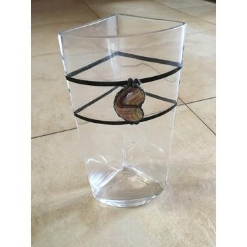 Wazon szklany z metaloplastyką - trójkątny, wysoki
