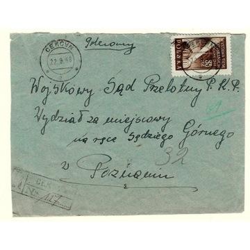 Koperta z 1948r ze znaczkiem nr 465- Sąd Przelotny