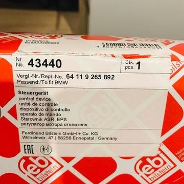 Rezystor dmuchawy wentylacji jeż BMW FEBI 43440