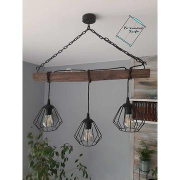Lampa sufitowa, drewniana, na łańcuchu, DIAMENT LO