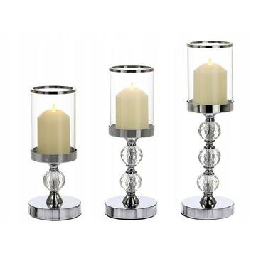 ŚWIECZNIK SZKLANY LAMPION GLAMOUR KOMPLET 3szt