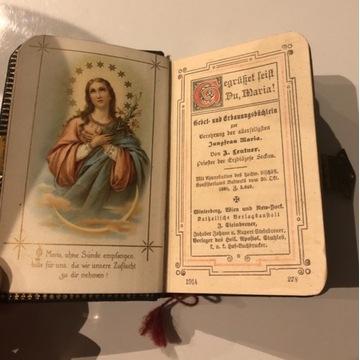 Stary modlitewnik skóra złocenia masa perłowa