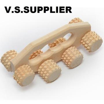 Masażer drewniany do stóp i ciała 8 rolek