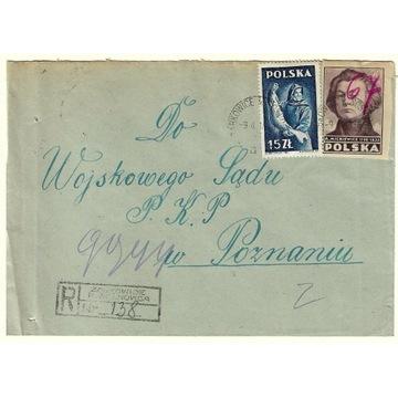Koperta z 1948r ze znaczkiem nr 436 i 439