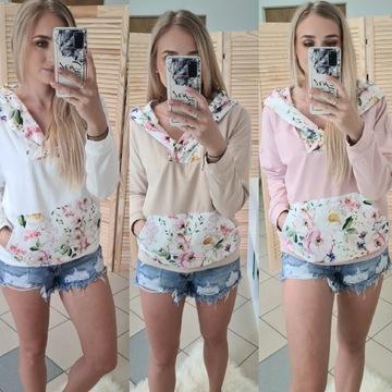 Bluza pudrowy róż z printem kwiatowym S /M