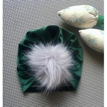 Turban czapka czapeczka pompon butelkowa zieleń