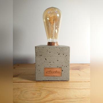Lampka Cubic loft industrial beton miedź Edison