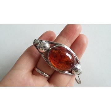 Biżuteria PRL - bransoletka srebro z bursztynem