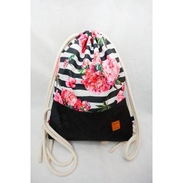 Plecak Worek handmade rękodzieło różowe piwonie