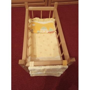 Duże łóżeczko dla lalek drewniane 49x26x26
