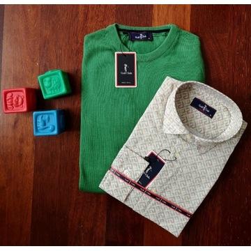 Nowy Zestaw świąteczny, koszula +sweter, rozmiar M