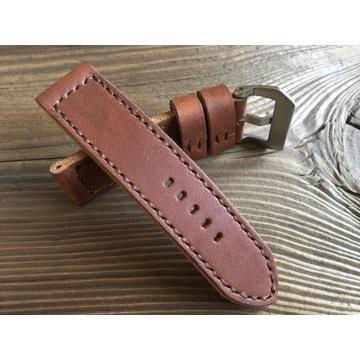 Pasek do zegarka ręcznie robiony skórzany 24 mm