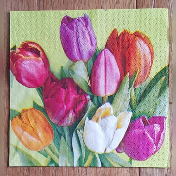 Serwetki do decoupage kwiaty tulipany 33x33-2szt.