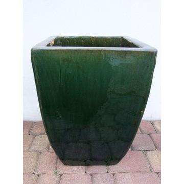 Piękna zielona donica mrozodporna wysokość 50 cm