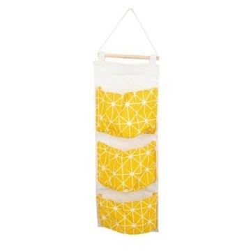 Wiszący organizer worek na zabawki 58x20cm żółty