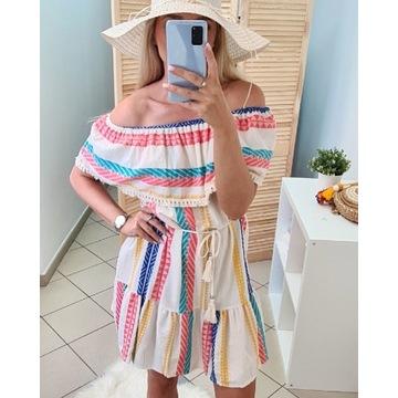 Sukienka hiszpanka aztecki wzór frędzle