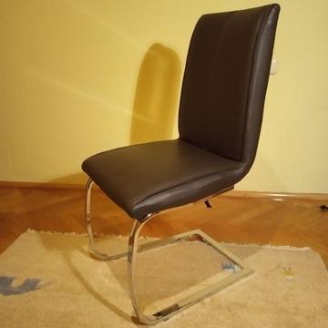 krzesło biurowe fotel ekoskóra sprężyny brąz kakao