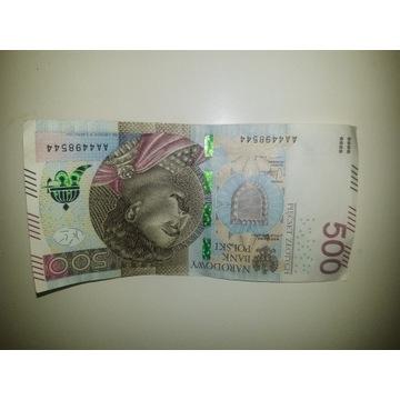banknot 500 zł seria AA 4498544