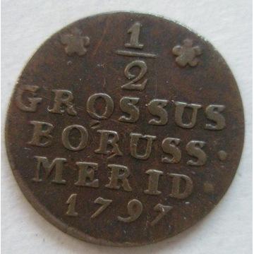 PRUSY POŁUDNIOWE półgrosz 1797 B, Wrocław. Stan 3