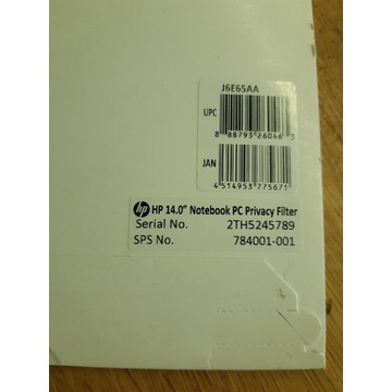 HP Oryg 14'' Filtr prywatyzujący (privacy) J6E65AA