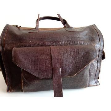 Skórzana torba podróżna retro /rękodzieło/ Cepelia