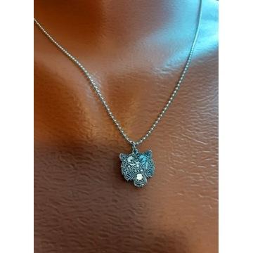 Nowy srebrny choker naszyjnik Młody Kot Kubańczyk