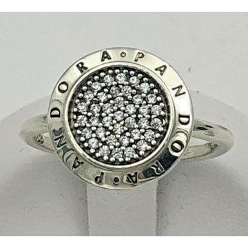 PANDORA pierścionek PAVE LOGO S925 ALE