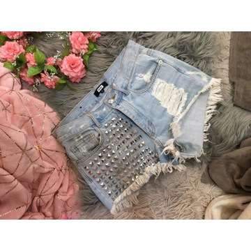BIK BOK szorty spodenki jeansowe jeans ćwieki 36 S