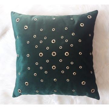 Poduszka dekoracyjna -butelkowa zieleń 40x40