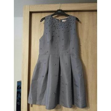 Ted Baker szara sukienka zdbiona perelkami rozmiar