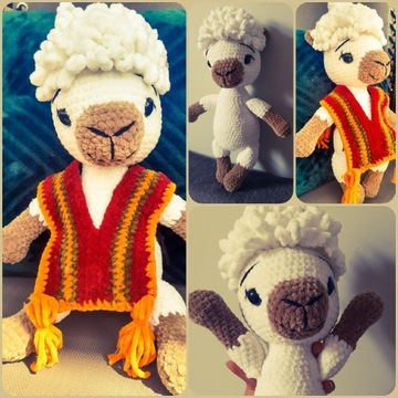 Alpaka maskotka handmade na szydełku zabawka miś