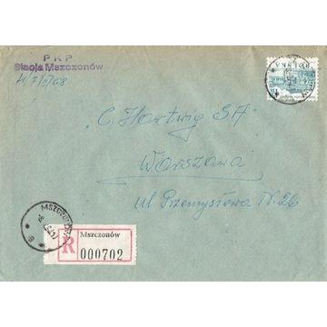 Mszczonów - Koperty listów poleconych 1960-80